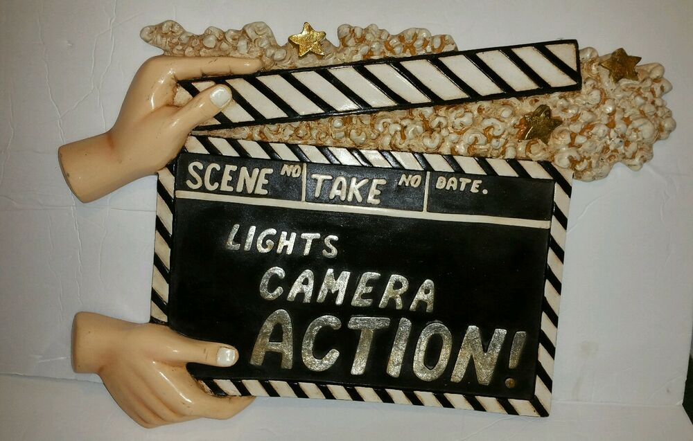 Lights Camera Action Wall Decor : Lights Camera Action Resin Sign Homegoods Wall Decor Clapperboard Movies eBay