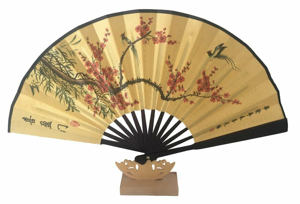 033 chinesisch handf cher asia wind deko china f cher seidenkarton papier fan ebay. Black Bedroom Furniture Sets. Home Design Ideas