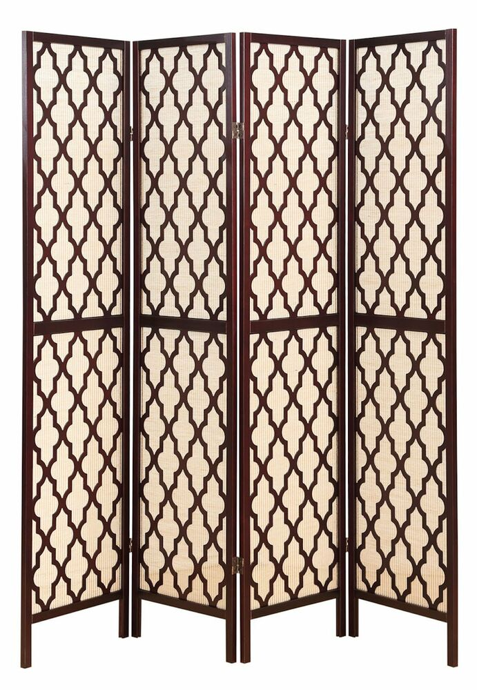 4 panel wooden fabric in lay screen room divider w decorative cut outs espresso ebay - Decorative partitions room divider ...