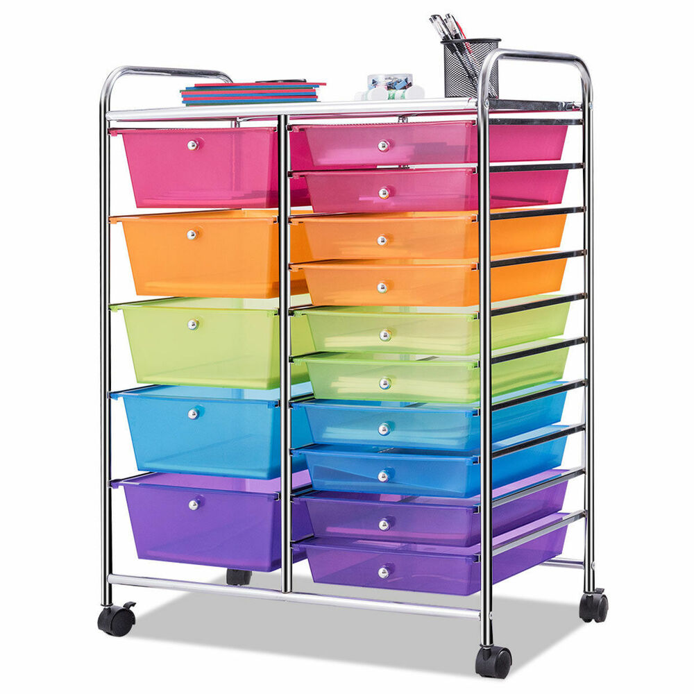 15 Drawer Rolling Storage Cart Tools Scrapbook Paper