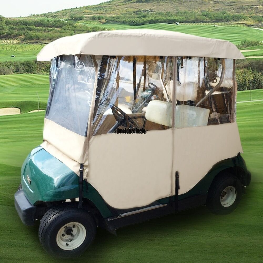 2 person 4 sided golf cart rain cover enclosure club car rainproof standard usa ebay. Black Bedroom Furniture Sets. Home Design Ideas