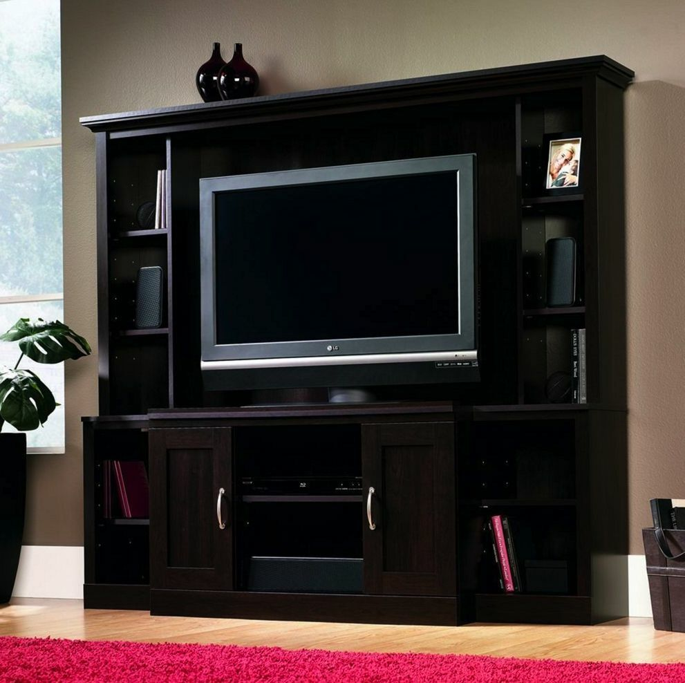 Entertainment Unit Tv Stand Media Storage Center Cinnamon