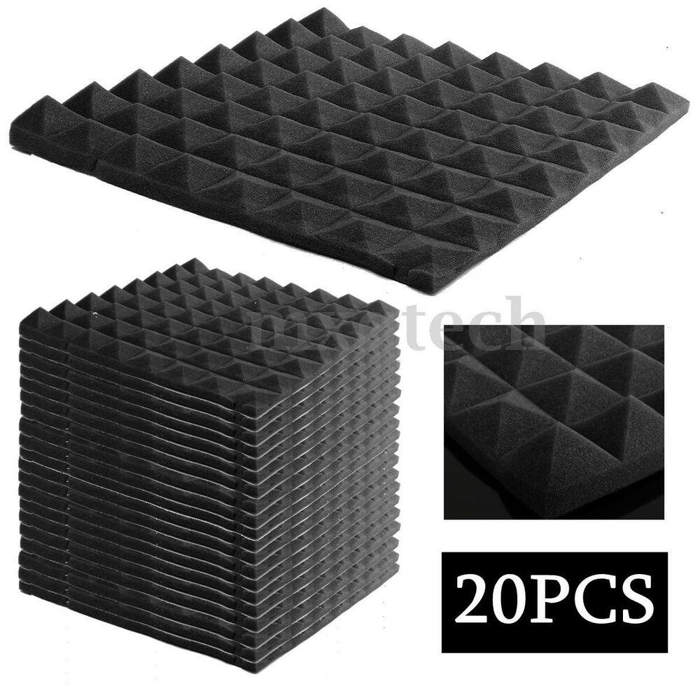 20 pack acoustic wedge studio soundproofing foam wall tiles 12x12x2 ebay. Black Bedroom Furniture Sets. Home Design Ideas