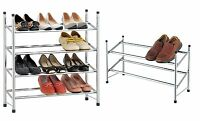 2 or 4 Tier Extendable Chrome Plated Shoe Storage Rack Stand Organiser Holder