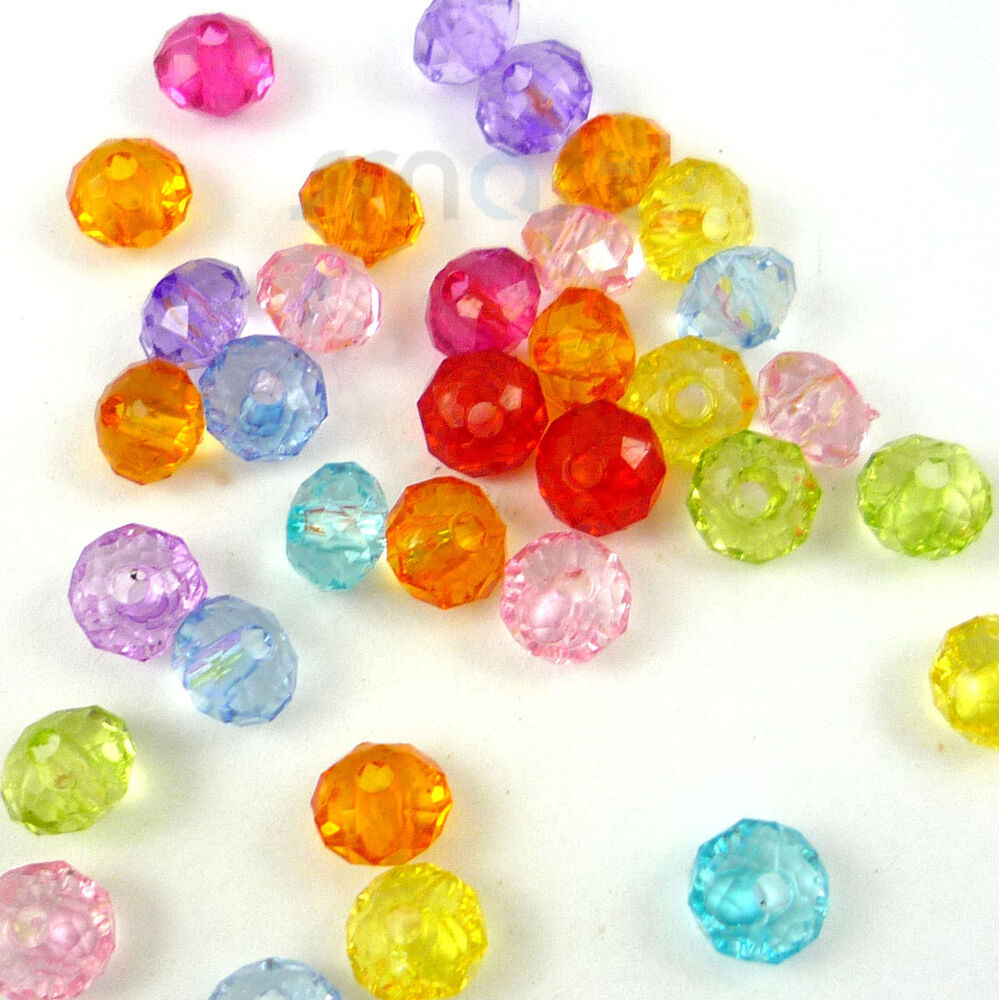 Kid Craft Beads: 100pcs Mixed Faceted Plastic Beads Lot Craft/Kids Jewelry