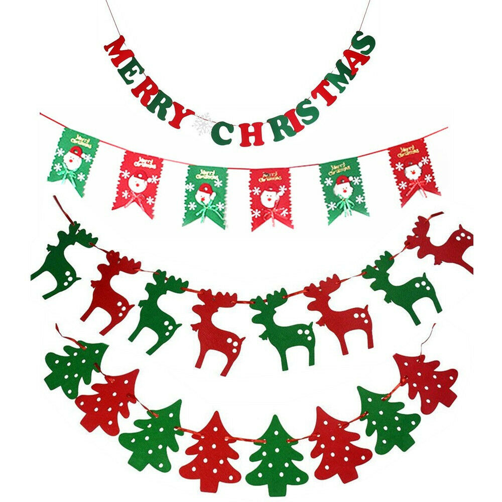 Merry christmas bunting garland banner hanging flag home for Hanging christmas decorations