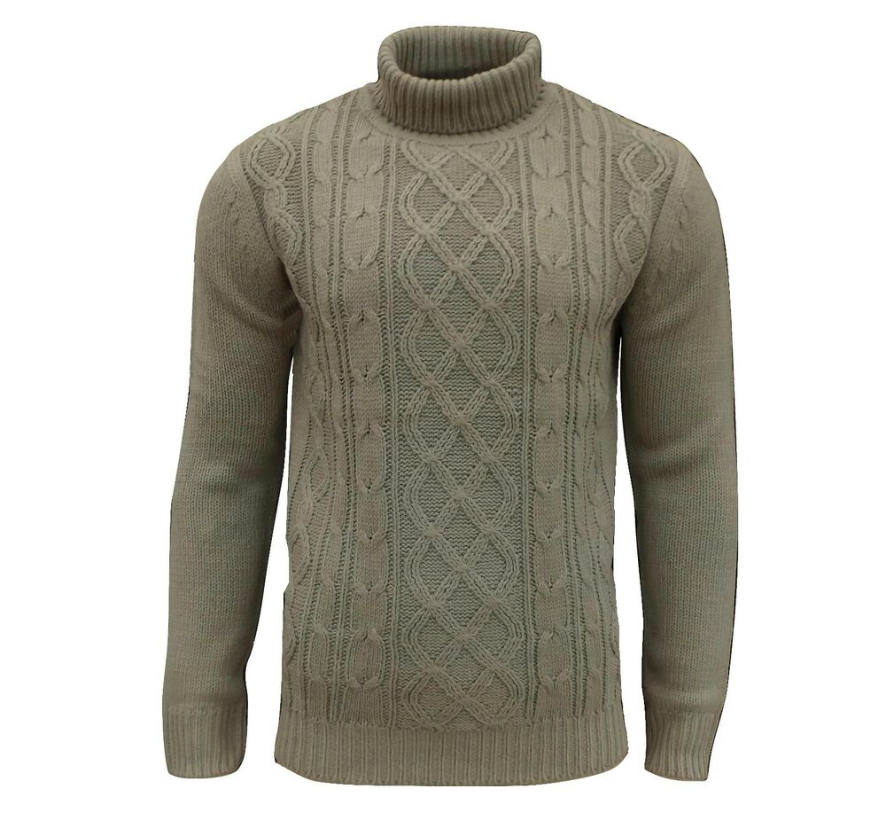 Soul Star Mens Stung Roll Neck Cable Knit Jumper Taupe eBay