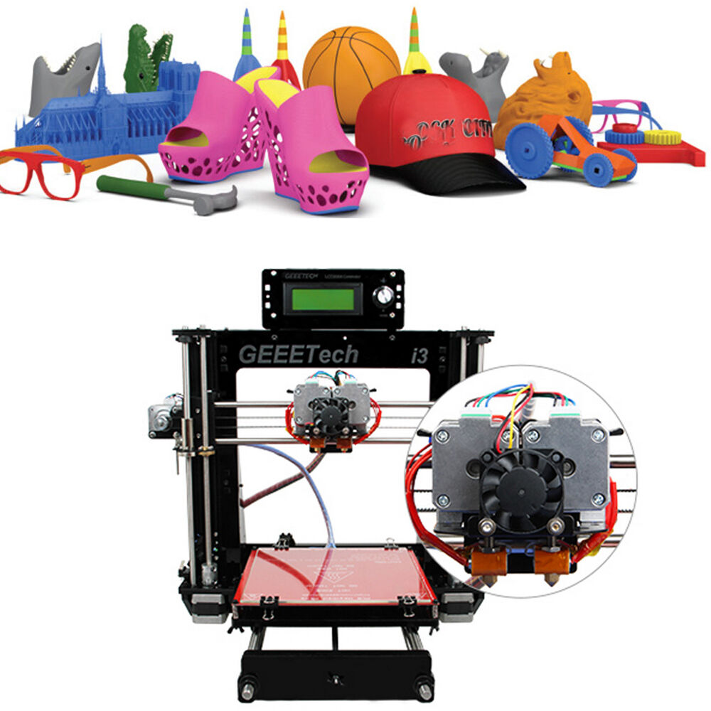 3d drucker geeetech support 5 filaments acrylic prusa i3 diy dual extruder mk8 ebay. Black Bedroom Furniture Sets. Home Design Ideas