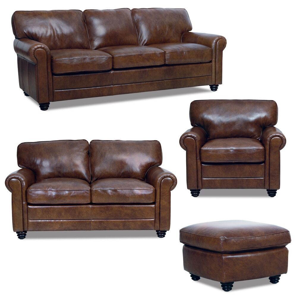 New luke leather italian brown down sofa set sofa loveseat for Leather sofa and loveseat set