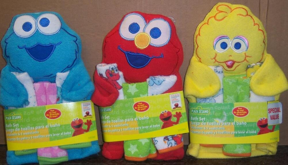 Sesame street wash mit 3 cloths elmo big bird cookie monster baby shower ebay - Sesame street baby shower ...