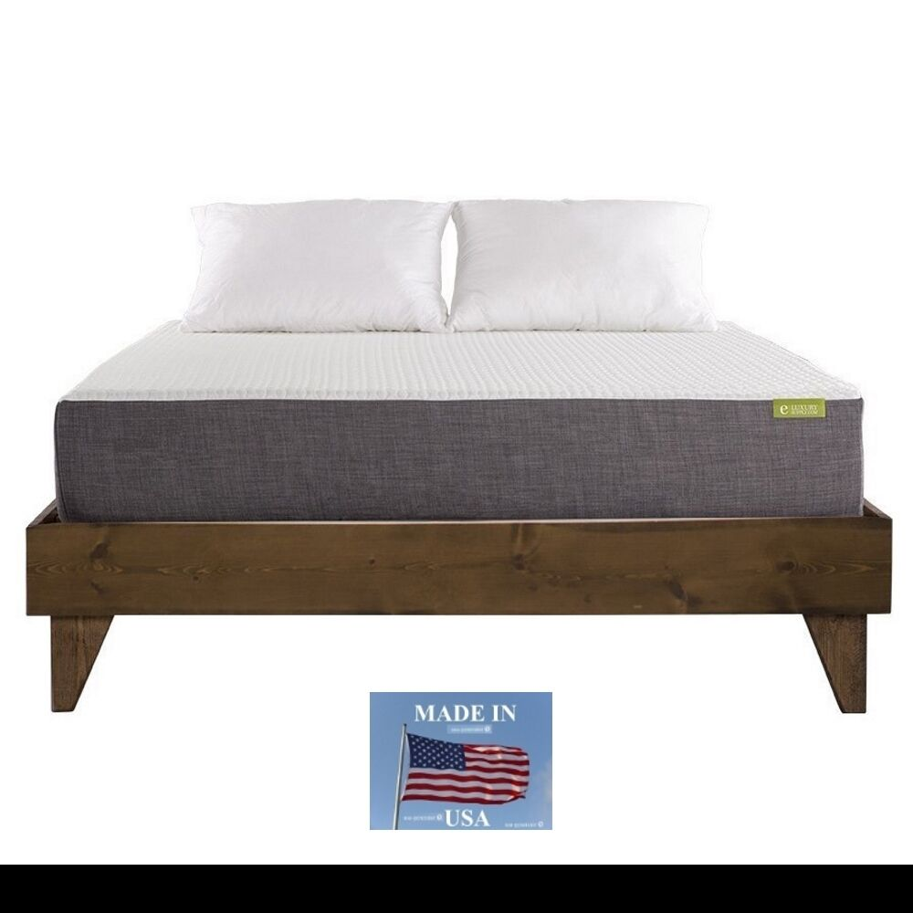 Cal king size wood bed frame platform walnut dark brown for Cal king bed size
