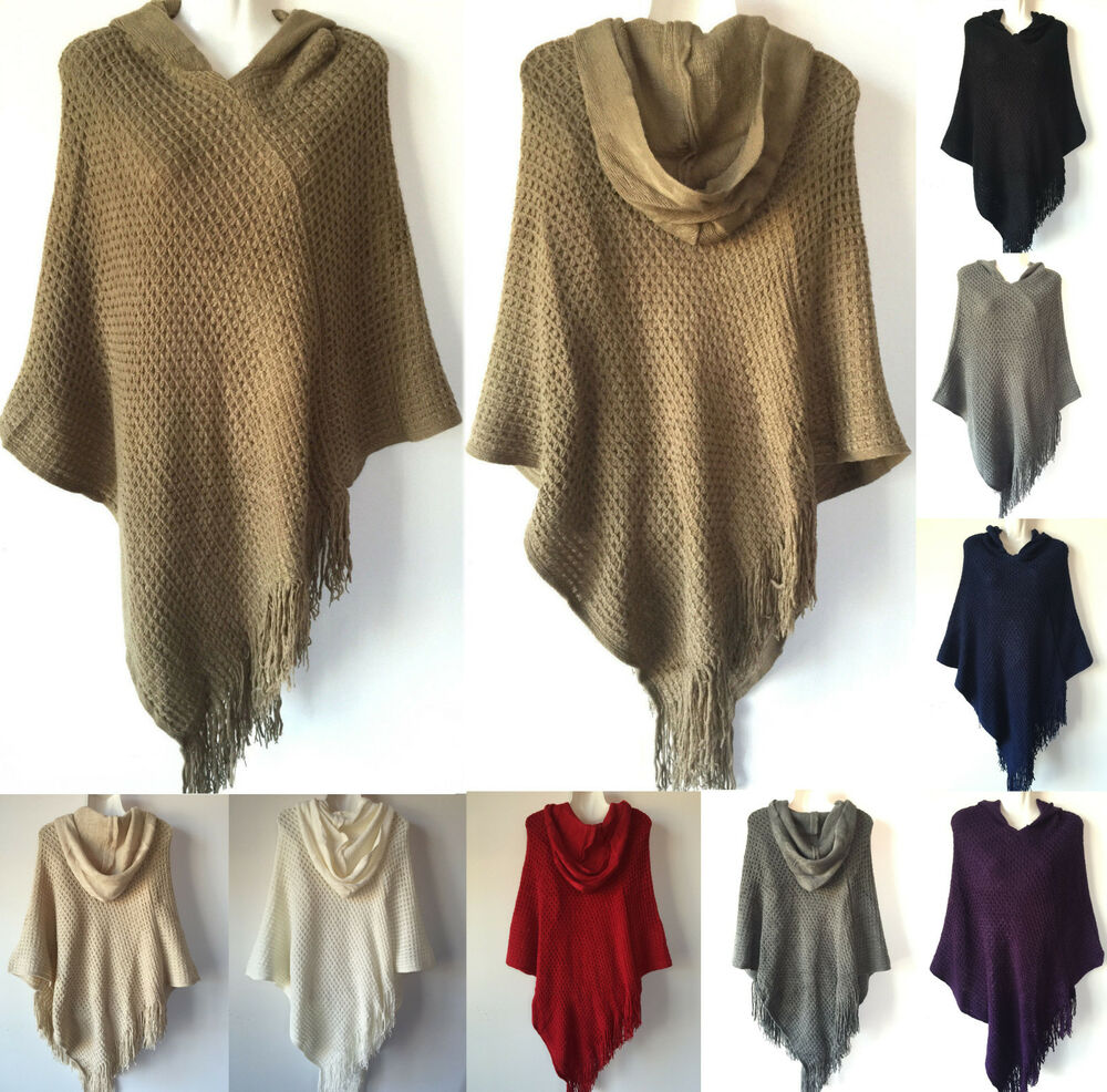 Women Knit Batwing Top Poncho With Hood Cape Cardigan Coat Sweater Outwear 48...