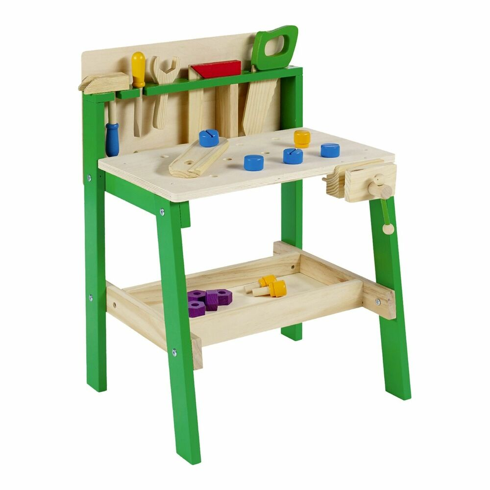 kids tool work bench wooden diy table work creative role play pretend activity ebay. Black Bedroom Furniture Sets. Home Design Ideas
