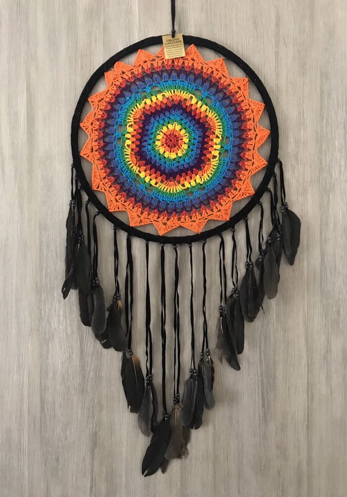 Colourful Crochet Dream Catcher With Black Feathers Huge 42cm