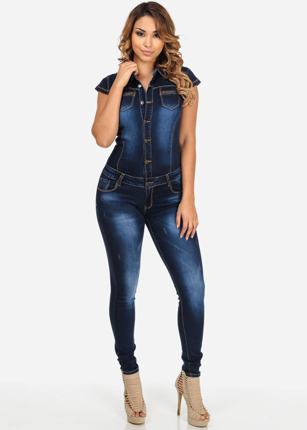 Womens Sexy New Denim Jeans Casual Street Corner Overall Slim Pants Jumpsuit Ebay