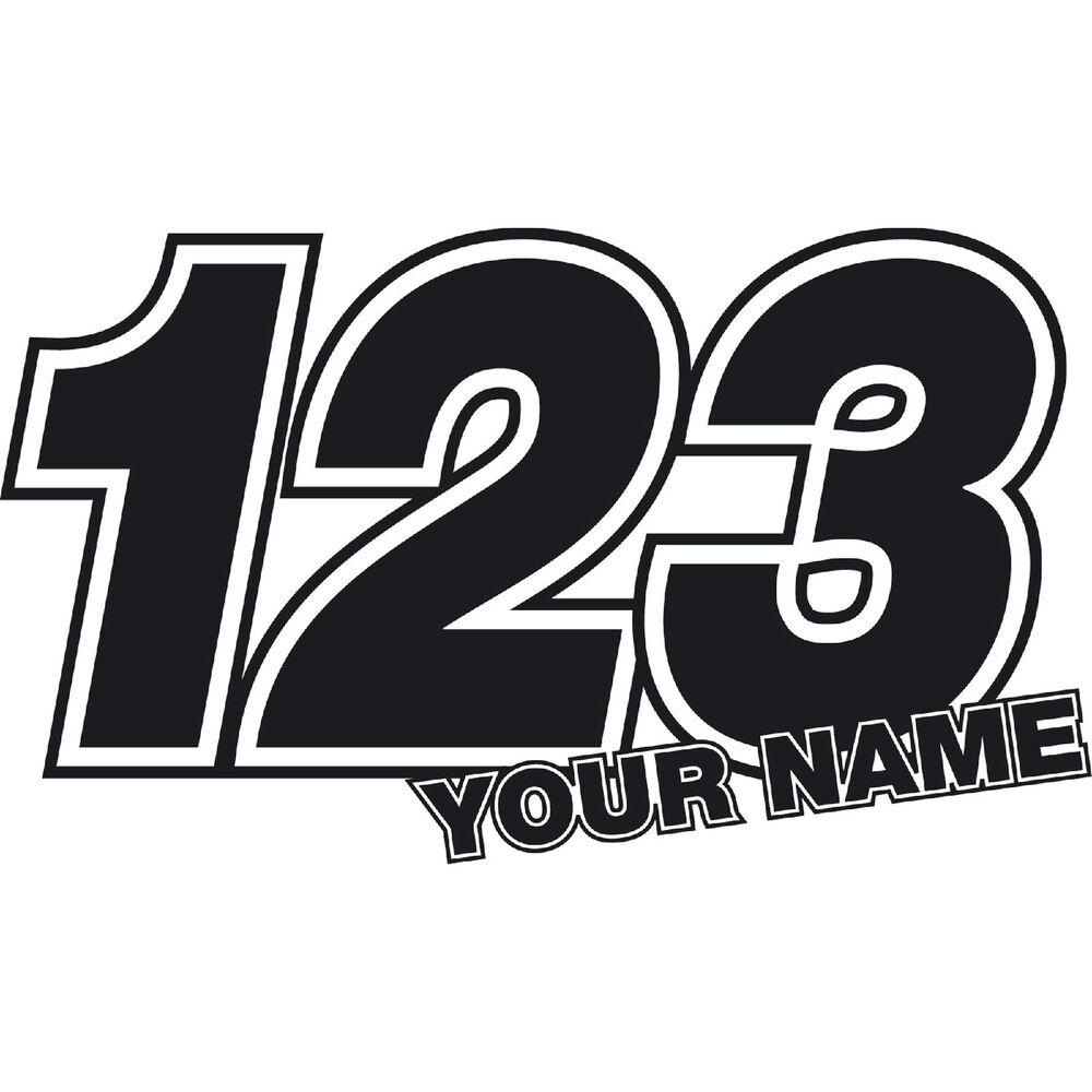 Details about 3 x custom race numbers name stickers vinyl dirt bike motocross trials decals