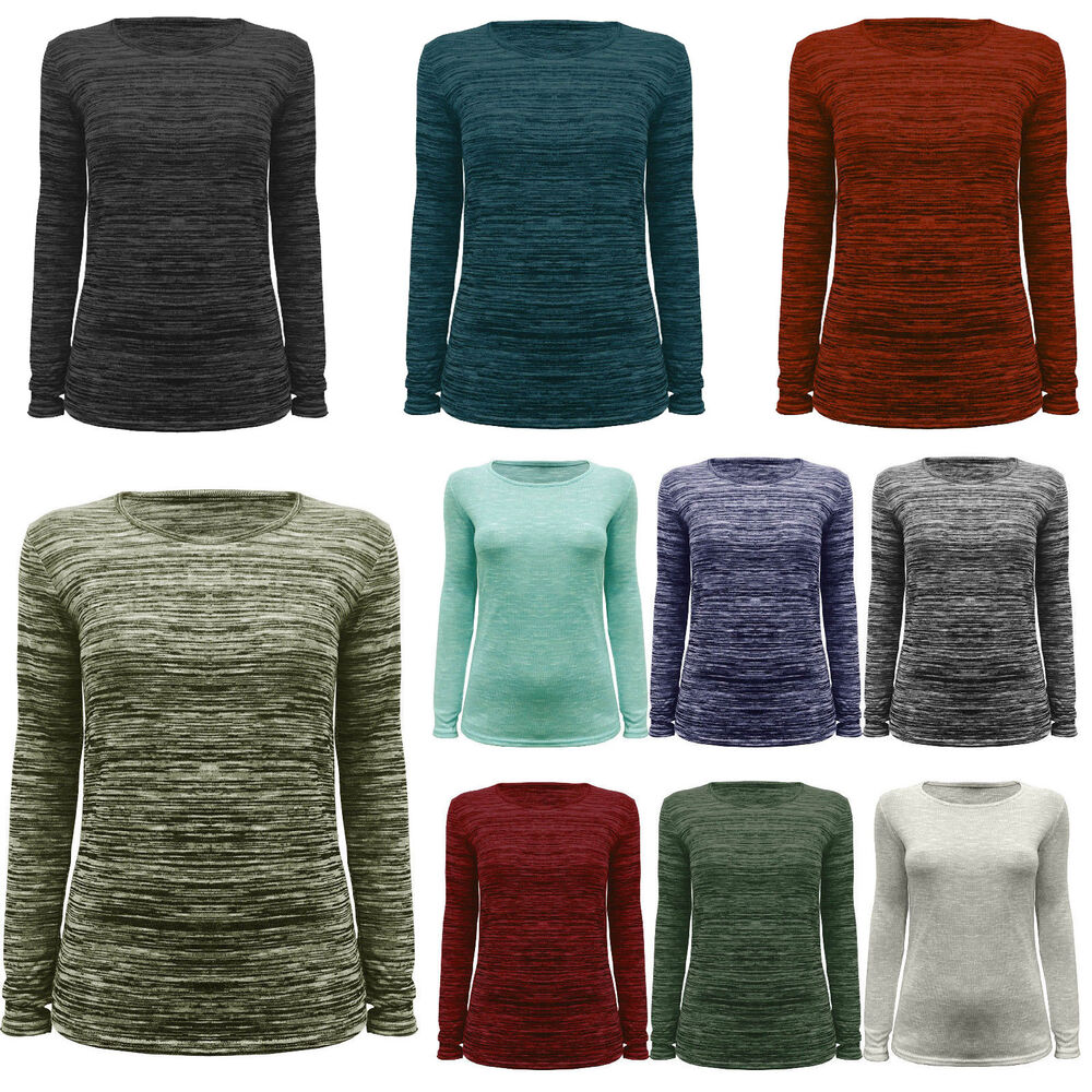LADIES WOMENS KNITTED SLUB JERSEY CREW NECK STRETCHY LONG SLEEVE JUMPER TOP ...
