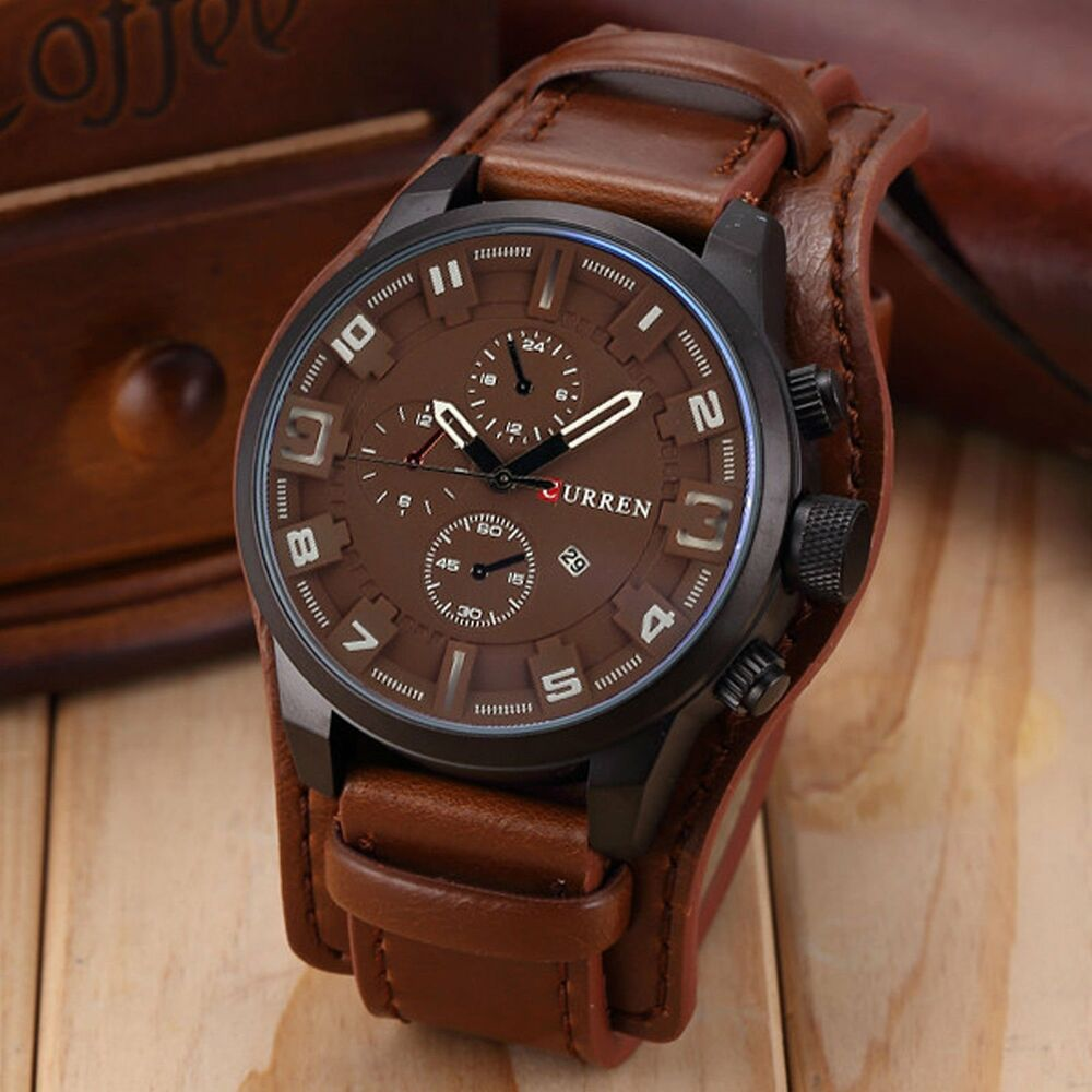 Fashion curren men date stainless steel leather analog quartz sport wrist watch ebay for Curren watches