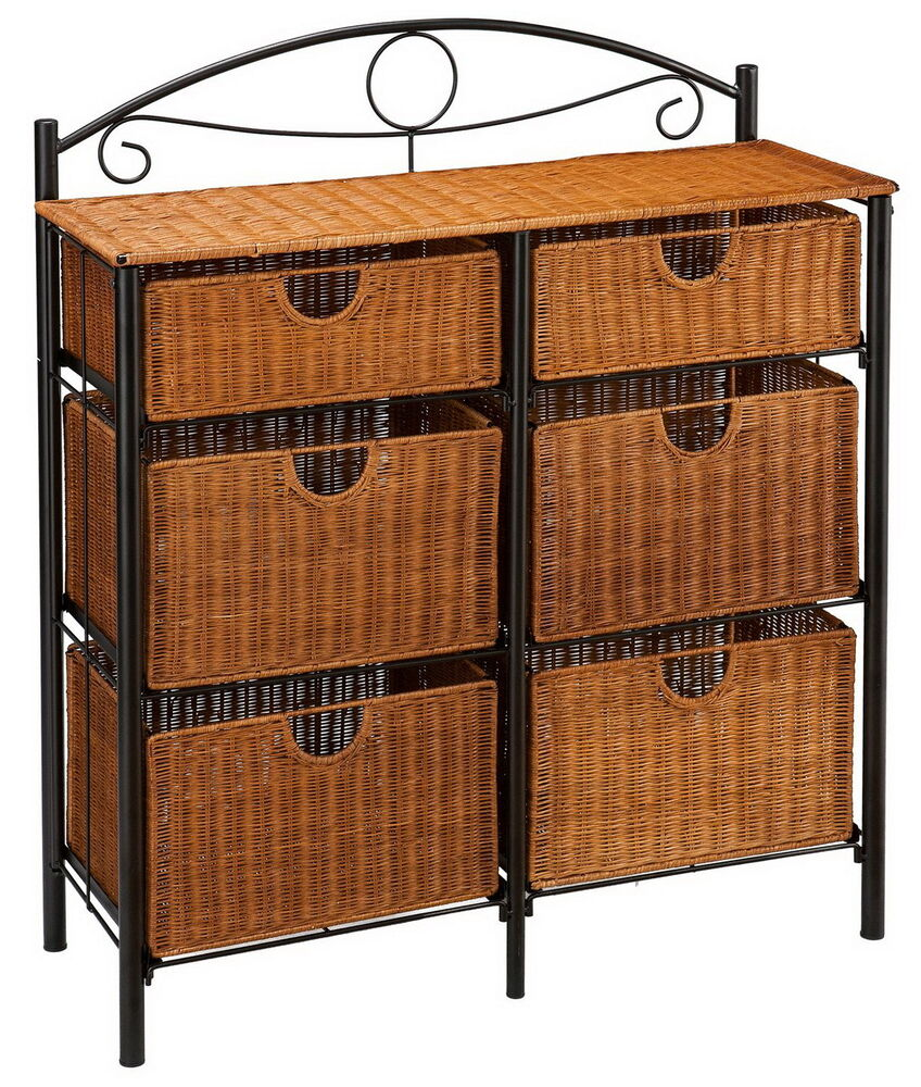 New 6 Wicker Basket Drawers Metal Frame Dresser Chest Iron