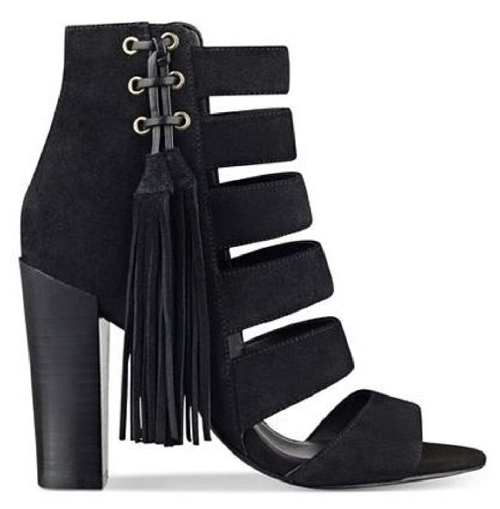 3e22afd0082 Details about Women s Shoes GUESS BLASA Heels Sandals Shootie Tassel Suede  Black