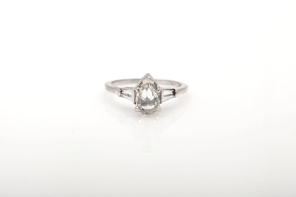 Antique 1940s $6000 1 33ct Pear Cut Diamond 14k White Gold Wedding Ring