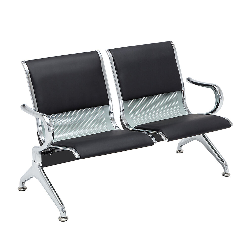 Salon Office Bank Hall Airport Reception Waiting Room Chair Steel Bench 2 Seat Ebay