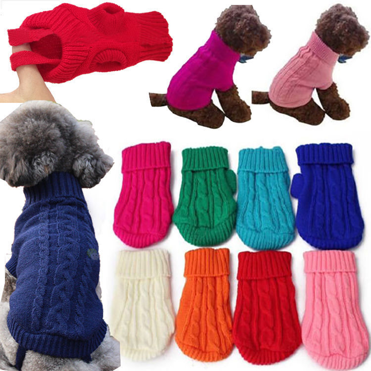 Knitting Coats For Dogs : Popular pet dog cat knitted jumper winter sweater warm