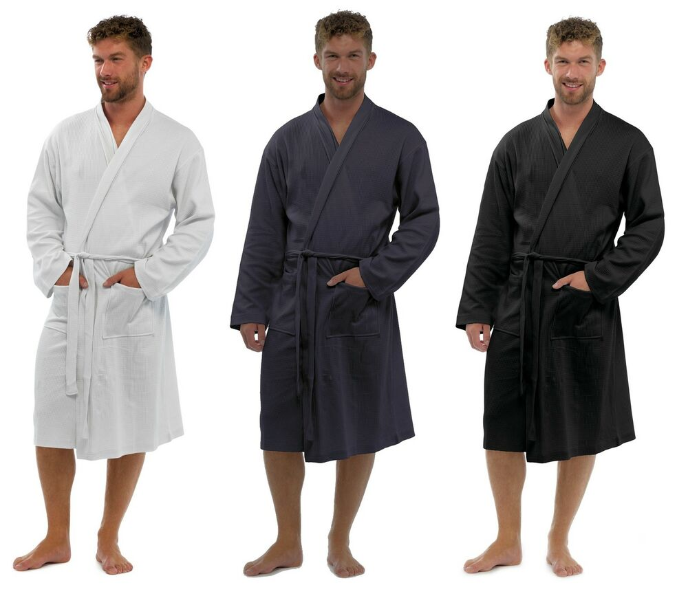 Men S Dressing Gowns: Mens 100% Cotton Waffle Robe / Dressing Gown