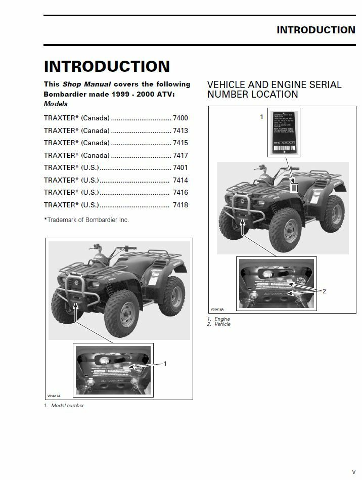 1999 2000 bombardier can am traxter 500 650 atv service manual 3 rh ebay com