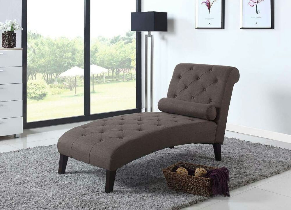 Dark brown fabric chaise lounge sofa couch living room for Modern lounge sofa