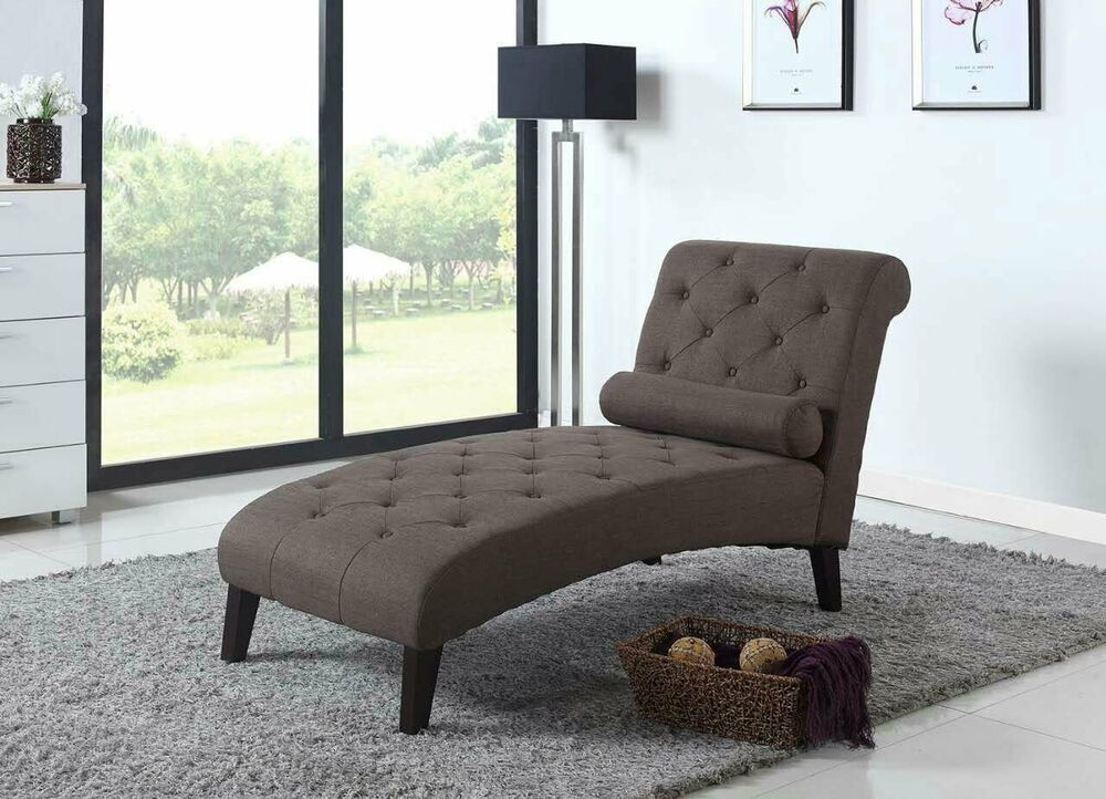 Dark brown fabric chaise lounge sofa couch living room for Brown chaise lounge sofa