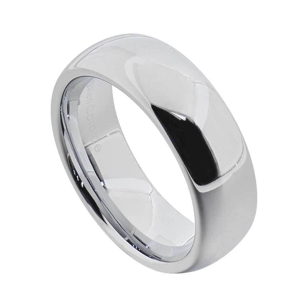 Men S Wedding Band White Tungsten Carbide 7mm: 7mm Tungsten Domed Silver White Polished Classic Men's