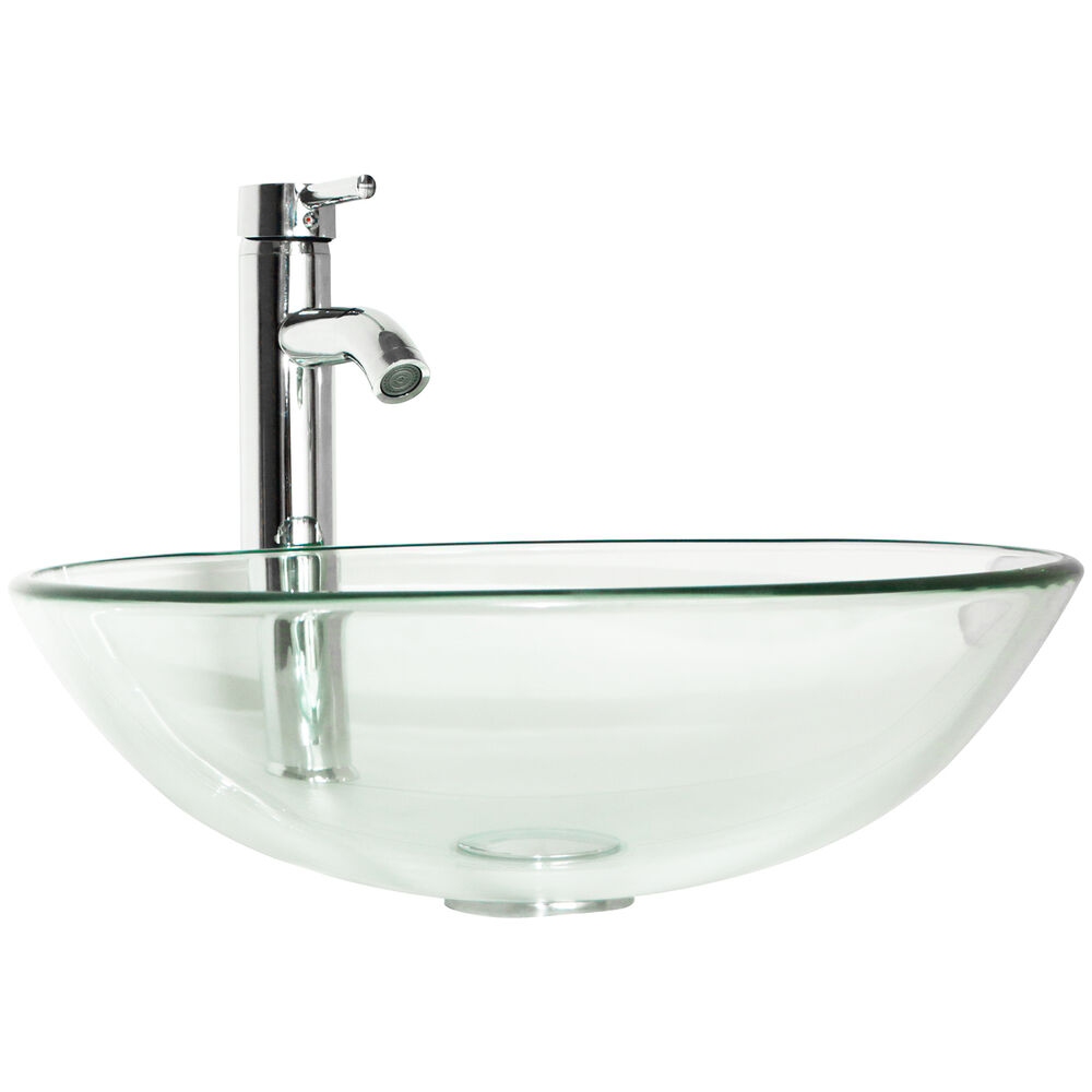 clear bathroom sink bathroom tempered clear glass vessel sink chrome 12352