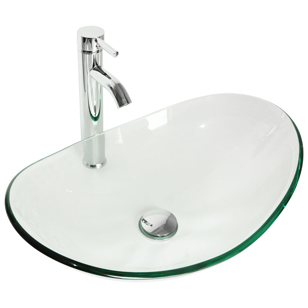 bathroom tempered clear glass vessel sink oval bowl chrome faucet pop up drain ebay. Black Bedroom Furniture Sets. Home Design Ideas