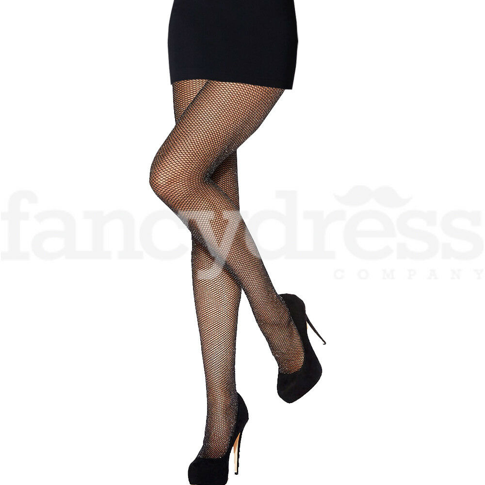988b13ec2b2 Details about Womens Black with Gold Glitter Fishnet Tights Dance Fancy  Dress Accessory NEW