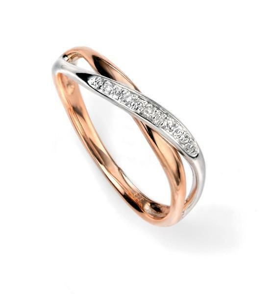 9ct White And Rose Gold Diamond Twist Wedding Ring