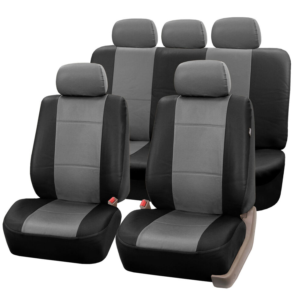 complete set synthetic leather car seat covers for auto gray black w 5 headrests ebay. Black Bedroom Furniture Sets. Home Design Ideas