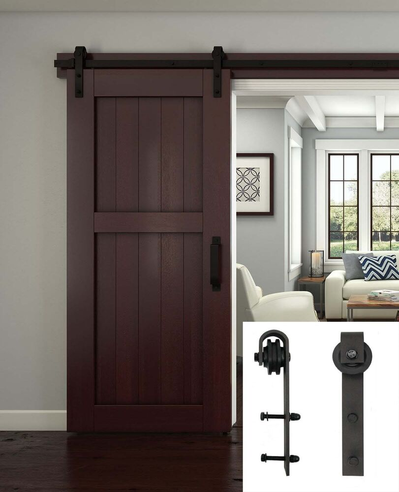 2 meter sliding barn door hardware track set interior. Black Bedroom Furniture Sets. Home Design Ideas
