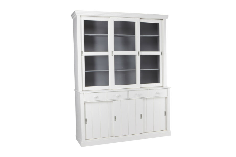 woood landhaus buffetschrank vitrine lagos kiefer weiss ebay. Black Bedroom Furniture Sets. Home Design Ideas