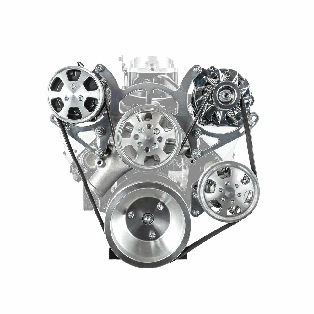 350 Chevy Engine Kit: Chevy SBC 350 Aluminum Serpentine Complete Engine Pulley