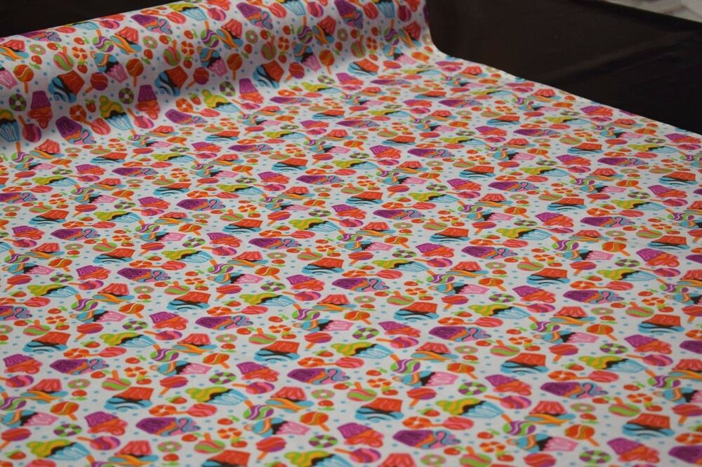White Cupcakes Candy Print Quilt Fabric Apparel Craft