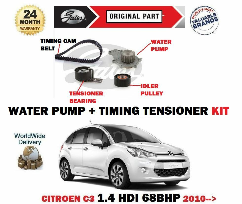 for citroen c3 1 4 hdi 68bhp dv4td 2010 water pump timing cam tensioner kit ebay. Black Bedroom Furniture Sets. Home Design Ideas