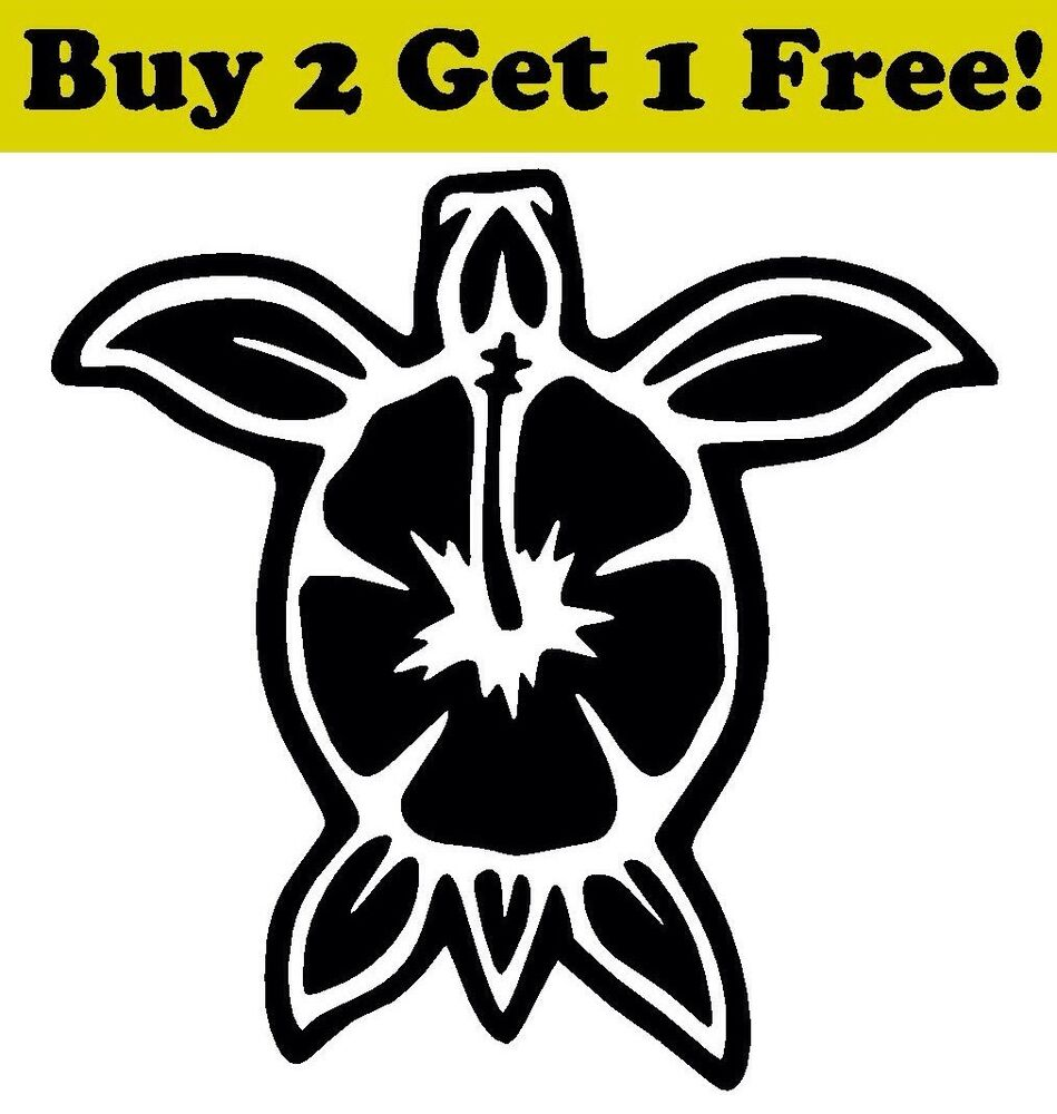Turtle Hibiscus Vinyl Decal Sticker Car Bumper Window Wall