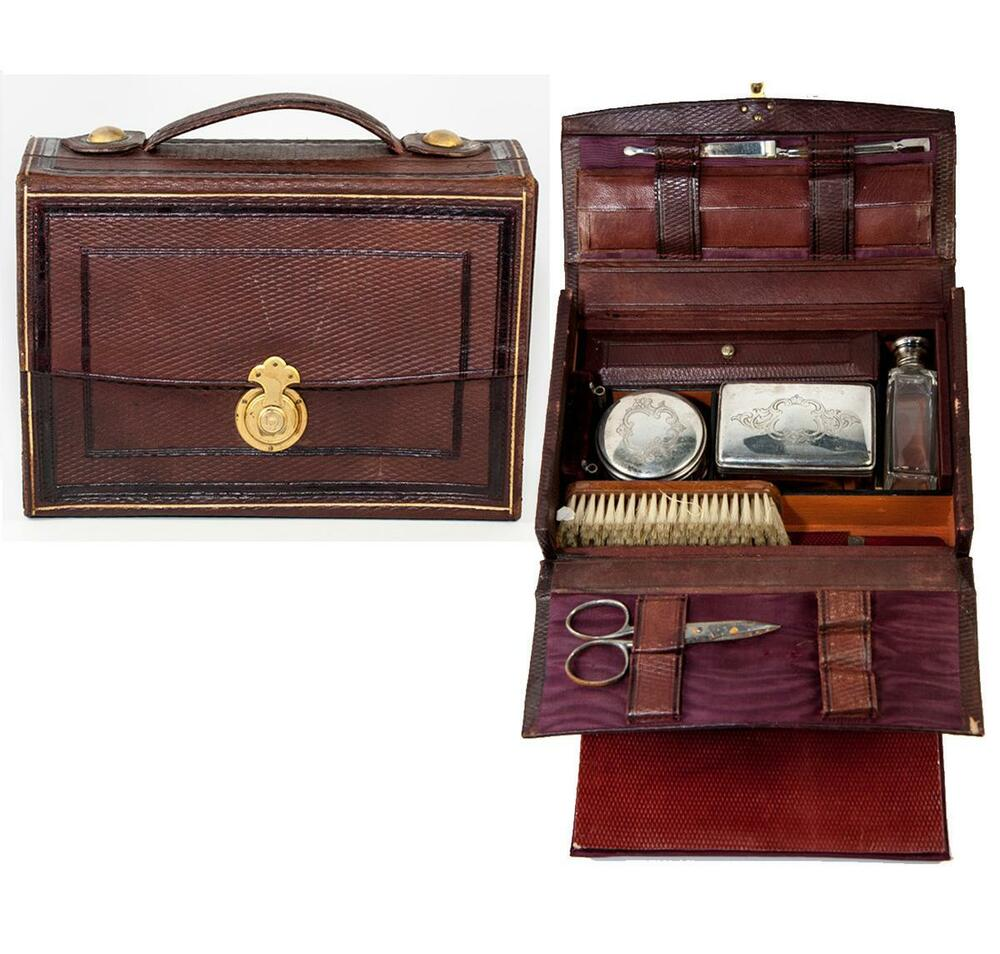 antique french grand tour travel valet vanity items in leather valise case ebay. Black Bedroom Furniture Sets. Home Design Ideas
