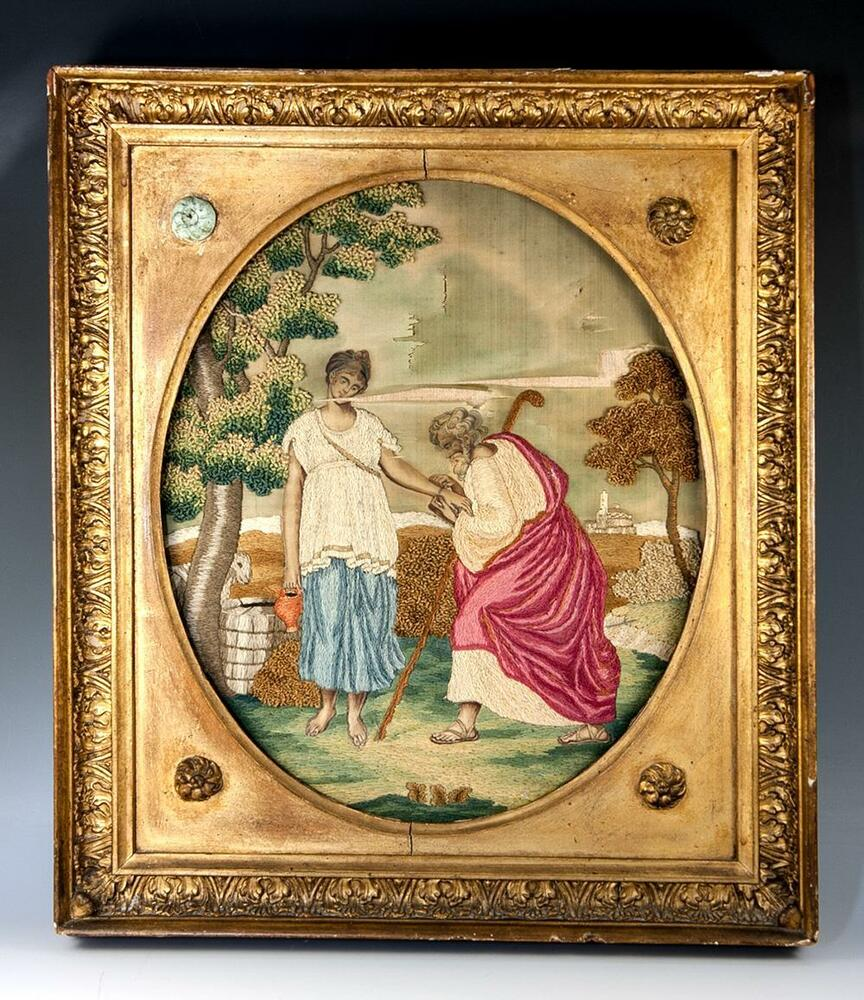 Antique 1700s English Silk Work Embroidery Tapestry