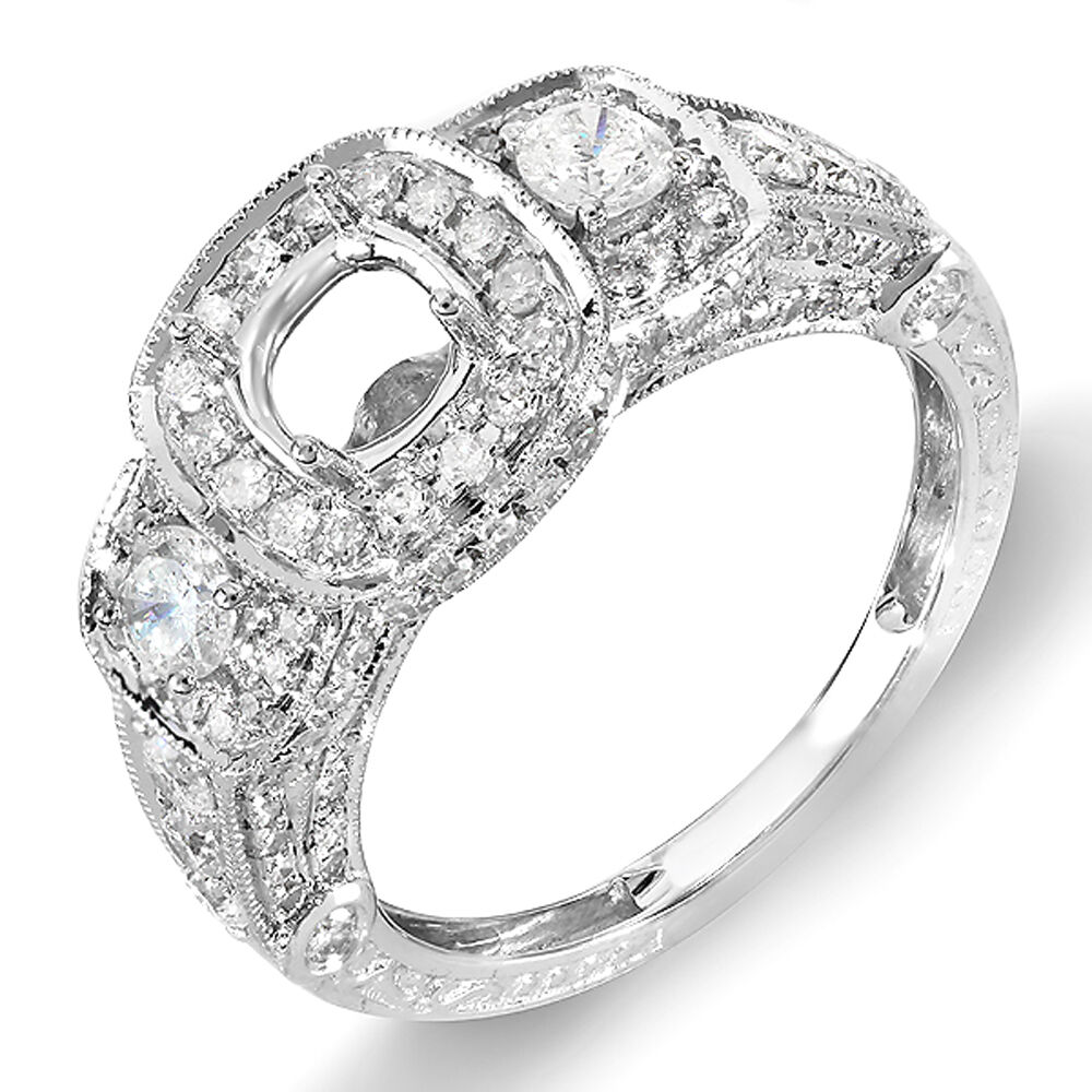 Engagement Rings No Stone: 1.25 CT 14K White Gold 3 Stone Diamond Semi-Mount