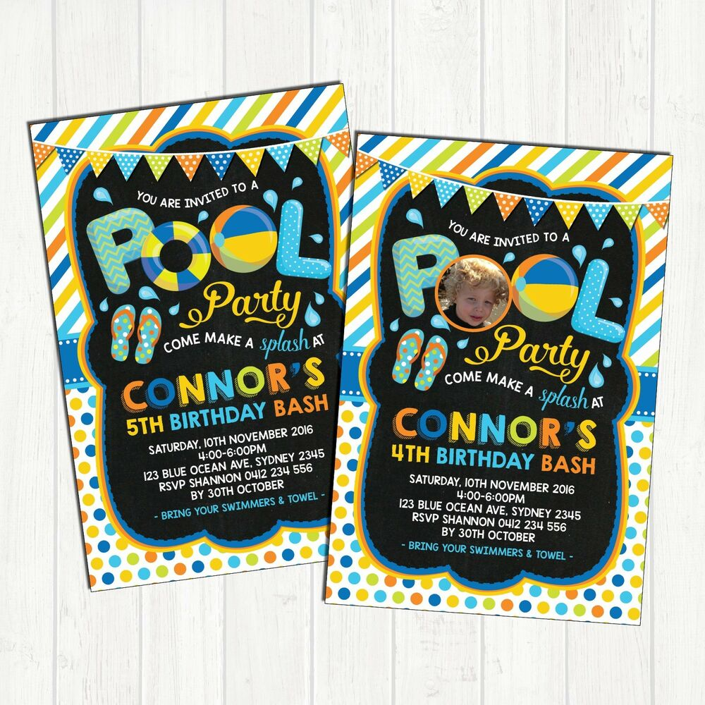 Details About Boys Pool Party Invitation Birthday Invite Summer Beach Swimming Supplies