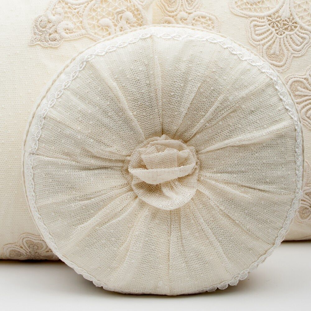 French Shabby Chic Lace Cushion Throw Pillow Cream Round Rosette eBay