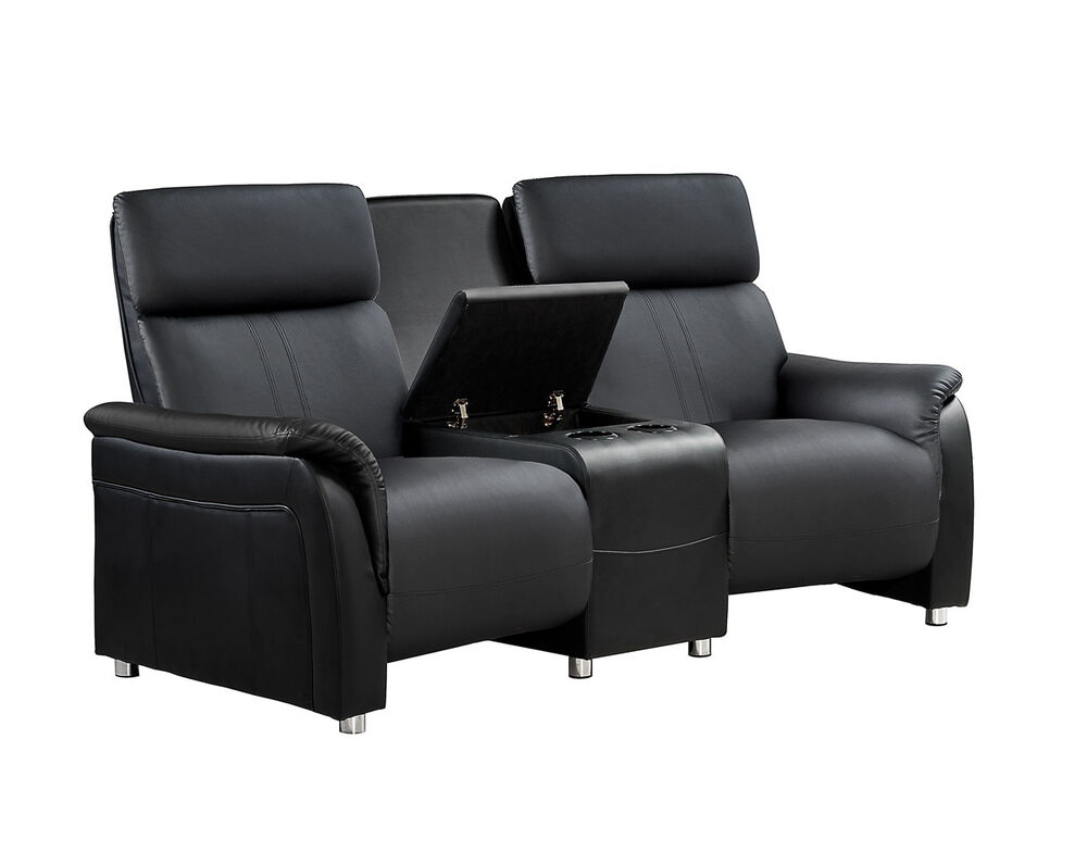 heimkino 2 sitzer sofa mit tisch schwarz kinosofa kinosessel ebay. Black Bedroom Furniture Sets. Home Design Ideas