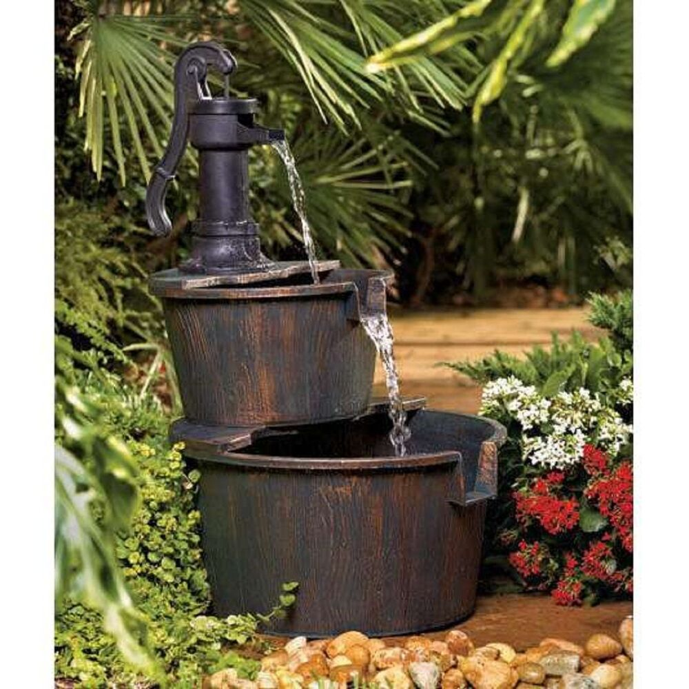 Garden waterfall feature water fountain 2 tier indoor for Waterfall water feature